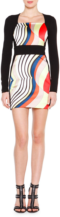 Emilio PucciEmilio Pucci Long-Sleeve Fitted Colorblock Dress