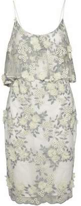 Badgley Mischka Layered Floral-Appliquéd Embroidered Tulle Dress