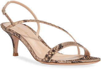 Gianvito Rossi Python Asymmetric Slingback Sandals