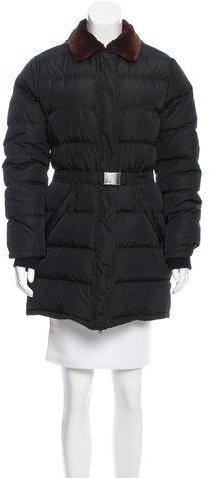 pradaPrada Fur Collar Belted Coat