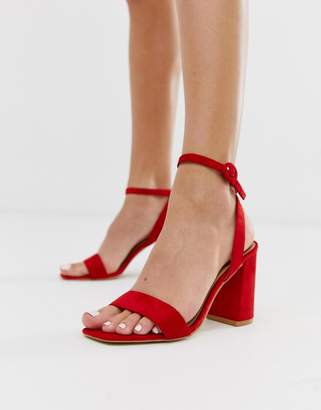 Raid RAID Wink bright red square toe block heeled sandals