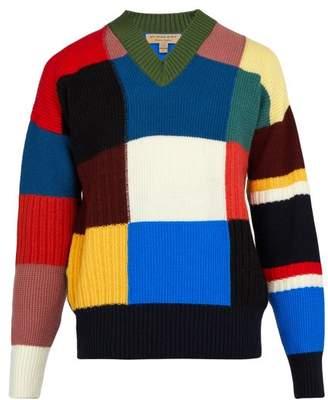 Burberry Reynold Intarsia Wool Sweater - Mens - Navy Multi