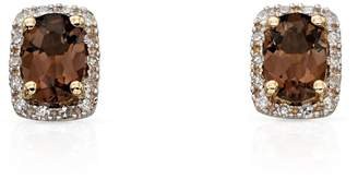 John Greed 9ct Gold Smoky Quartz & Diamond Stud Earrings