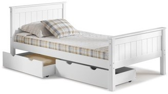 Alaterre Harmony Twin Bed with Storage Drawers, White