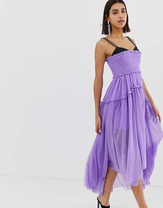 Asos (エイソス) - ASOS Edition ASOS EDITION Tulle Dip Back Maxi Dress with Chain Straps