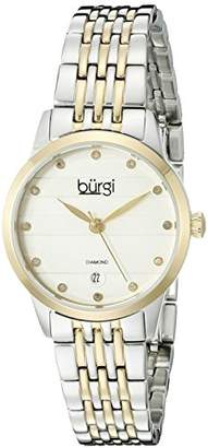 Burgi Women's BUR146TTG Silver and Yellow Gold Quartz Watch With Diamond Dial And Two Tone Bracelet