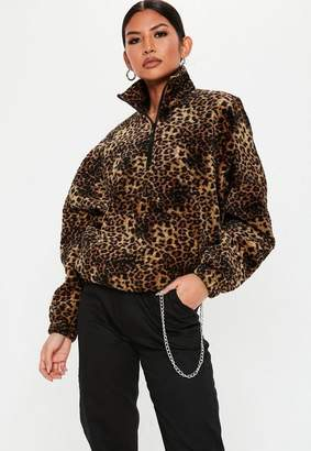 Missguided Brown Leopard Print Quilted Windbreaker Jacket