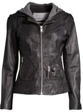 Doma Hooded Leather Moto Jacket