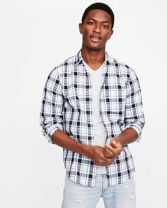 Express Classic Soft Wash Plaid Button-Down Shirt