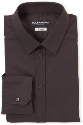 Dolce & Gabbana Dark Brown Gold Fit Dress Shirt