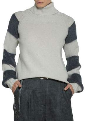 Eleventy Striped-Sleeve Turtleneck Sweater