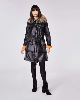 Nicole Miller Leather Puffer Coat