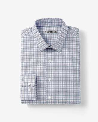 Express Slim Plaid Cotton Dress Shirt
