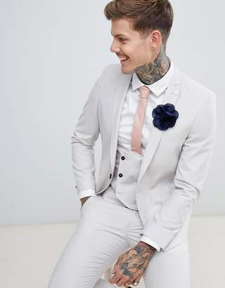 Twisted Tailor wedding super skinny suit jacket in grey