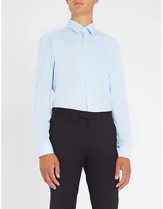 BOSS Business micro heart-print slim-fit cotton shirt