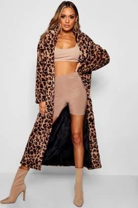 boohoo Leopard Faux Fur Coat