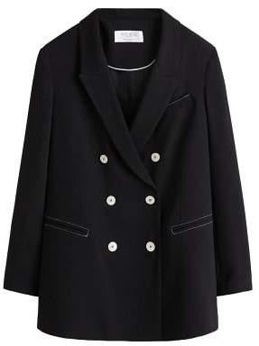 Violeta BY MANGO Contrast seam blazer