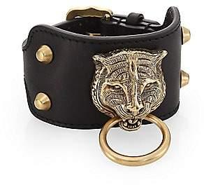Gucci Men's Leather Bracelet With Feline Head