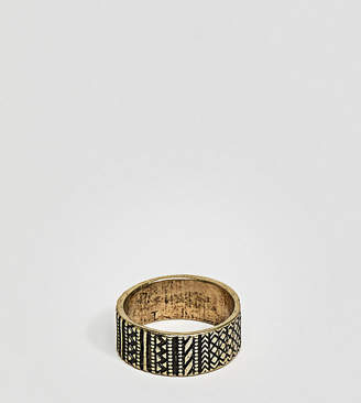 Asos DESIGN Plus Geo-Tribal Ring In Burnished Gold