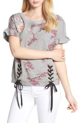 BILLY T Short Sleeve Lace Up Cherry Blossom Sweatshirt