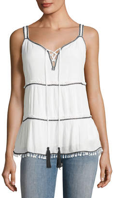 Willow & Clay Contrast-Trim Embroidered Tank, White/Black $69 thestylecure.com