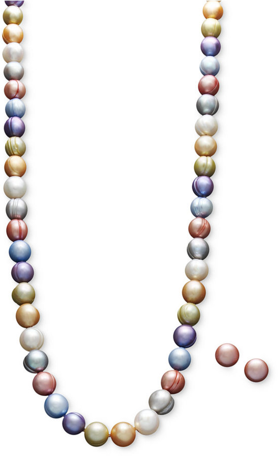 Honora Fresh by Pearl Necklace and Earring Set, Sterling Silver Multicolor Cultured Freshwater Pearl (8-9mm)