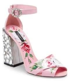 Dolce & Gabbana Floral-Print Block Heel Sandals