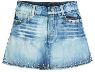 Flowers by Zoe Faded Raw-Hem Studded Denim Skirt, Size S-XL