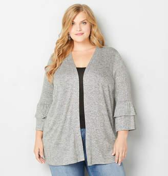 Avenue Plus Size Marled Bell Sleeve Cardigan