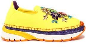 Dolce & Gabbana Crystal-Embellished Neoprene Platform Slip-On Sneakers