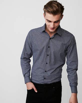 Express Extra Slim Check Print Cotton Point Collar Dress Shirt