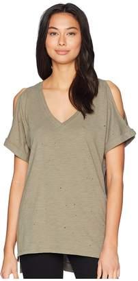 Miss Me Cold Shoulder V-Neck T-Shirt Women's T Shirt