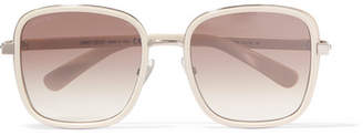 Jimmy Choo Elva Square-frame Acetate And Glittered Suede Sunglasses