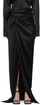 Balenciaga Black Satin Wrap Skirt