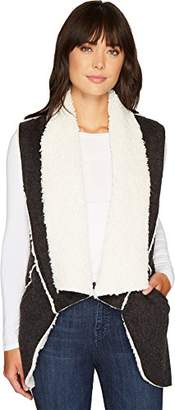 True Grit Dylan by Women's Bonded Flannel with Faux Sherpa Interior Road Trip Long Vest
