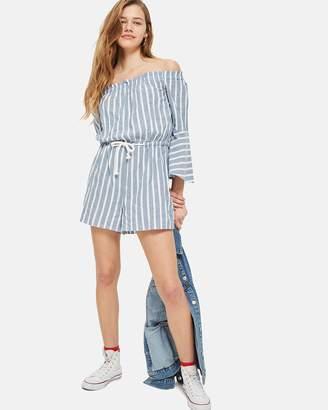 Topshop Striped Bardot Playsuit