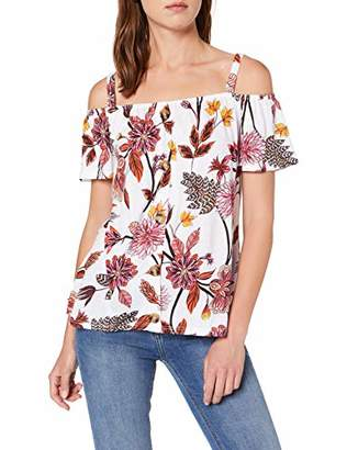 17fa8b3bdbd Dorothy Perkins Women's Ivory Floral Cold Shoulder Top Blouse,(Manufacturer  Size:)