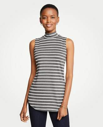 Ann Taylor Petite Striped Sleeveless Mock Neck Tunic