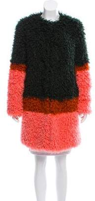 Shrimps Faux Fur Colorblock Coat