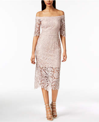 Xscape Evenings Off-The-Shoulder Lace Illusion Dress