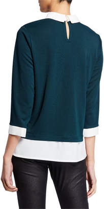 Karl Lagerfeld Paris Jewel-Neck Poplin Sweater Twofer Top