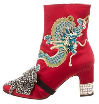 Gucci 2017 Embellished Dragon Ankle Boots