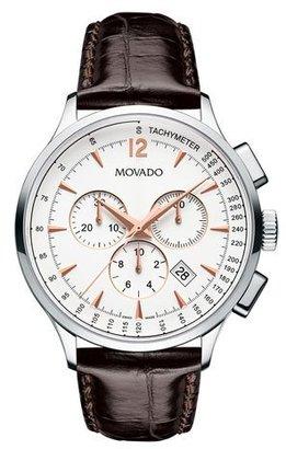 Movado 42mm Circa Chronograph Watch with Crocodile Strap, White/Brown $1,195 thestylecure.com