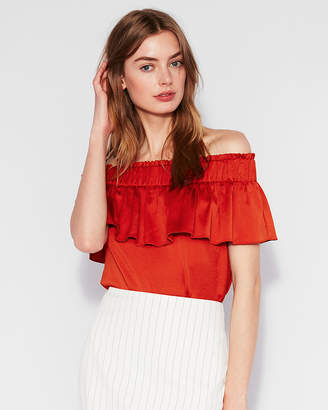 Express Off The Shoulder Smocked Ruffle Top