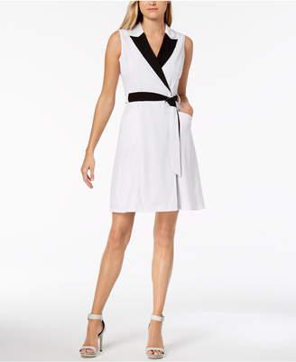 Calvin Klein Petite Colorblocked Wrap Dress