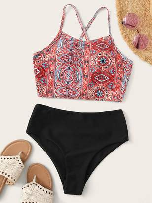 Shein Tribal Criss Cross Top With High Waist Bikini Set