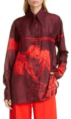 Kwaidan Editions '70s Collar Oversized Habotai Silk Shirt