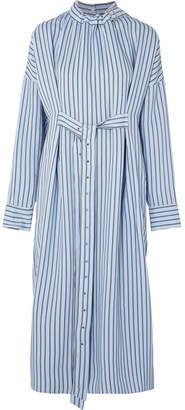 Tibi Belted Striped Poplin Midi Dress - Blue