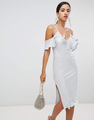 Rare London frill off shoulder midi dress