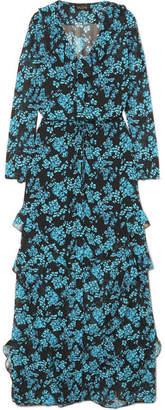Saloni Izzie Ruffled Floral-print Silk-chiffon Maxi Dress - Navy